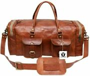 New 30 Men Brown Vintage Real Travel Luggage Duffel Gym Bags Tote Goat Leather