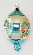 Pair Beautiful Antique Large Christmas Glass Indent Ornaments