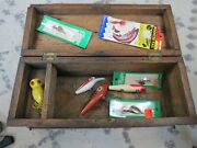 Antique Wooden Fishing Tackle Box With Lures Lot16789