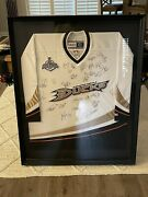 2007 Anaheim Ducks Stanley Cup Jersey. Framed And Team Signed.