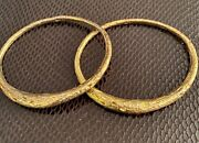Alexis Bittar Bangle Bracelets Gold Washed Sterling Silver 925 Texturized Rare