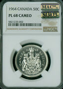 1964 Canada Silver 50 Cents Ngc Pl68 Cameo Pq Mac Solo Finest Grade Spotless .