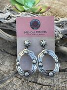 Beautiful Sterling Silver Post Ranch Circle Concho Dangle Earrings