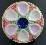 Seaweed And Coral - Antique Majolica Oyster Plate - Cobalt Center 6 Well, 10