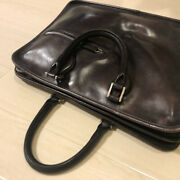 Berluti Business Bag Briefcase Tote Bag Dark Brown Leather Menand039s Authentic