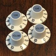 4 Aged White / Witch Hat Guitar Knobs / Press On / 2-vol / 2-tone / Jazzmaster