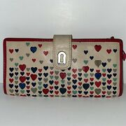Fossil Ruby Tab Leather Wallet Clutch Hearts Design Beige Red Snap Long Htf