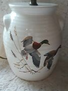 Signed Art Arthur Cook Handpainted Lamp Ducks In Flight Awesome 8
