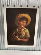 Vintage Country Boy By Tovine Winde Fine Portrait Print Wall Decor - Pre Owned