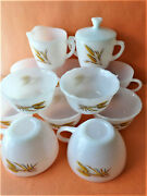 Vtg Oven Ware Fire- King Golden Wheat Pattern Tea Coffee Set Of 12 Made In U.s.a