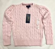 Polo Girls Pink Knit Pullover Sweater 3-buttons