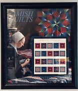 2001 Usps American Treasures Amish Quilts Wood Framed Art W 34c Stamp Sheet Exc