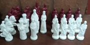 Lot 31 Vintage Alberta's Mold Ceramic Brown And White Chess Pieces 1973