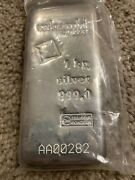 1 Kilo Silver Bar - Valcambi Cast W/assay 999 Fine Silver.