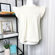 Madewell Lace Inset Superlight Jacquard Antique Cream Boxy Fit Top Women's Small
