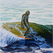 Creeping The Nose Mike Bell Creature Black Lagoon Surf Rolled Canvas Art Print