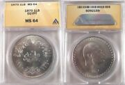 1970 Egypt One Pound Silver Coin Marking Gamal Abdel Nasser's Death Anacs Ms 64