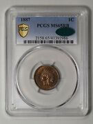 1887 Indian Head Cent. Pcgs Ms65rb Cac