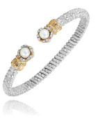 Alwand Vahan Pearl And Diamond Bracelet 14k Gold And Ss 0.10ctw Style 23312dwp04
