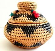 Native Made, Hand Woven Alaskan Style Basket, Salmon Carving, Glass And Coral Bead