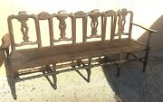 Settee Woven Rush Seat Carved Back Four Seater Bench Vintage Antique 78 X 22x36