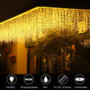 13 Ft Curtain Icicle Lights 120 Led Wedding Party Fairy Christmas Indoor Outdoor