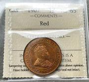 ✪ 1907 Large Cent Canada 1 Cent Coin Penny- Iccs Gem 65 Red