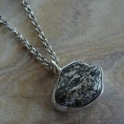 Ooak Handcrafted Sterling Silver Granite Stone Pendant Rolo Chain Necklace