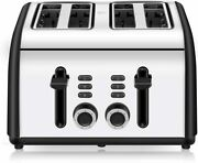 Toaster 4 Slice 4 Wide Slots Stainless Steel Toasters With Reheat Defrost