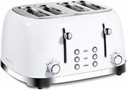 Toaster 4 Slice Retro Stainless Steel Toasters With Extra Wide Slots Bagel