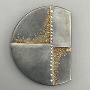 Signed Atelier Zobel Sterling Silver 24k Gold And Diamond Pendant Brooch Pin