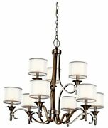 42382ap, Lacey Candle Chandelier Lighting With Shades, 9-light Antique Pewter
