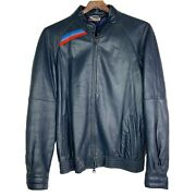 Vintage Bmw M Sport Mens Leather Motorcycle Jacket West Germany Made Blue Small