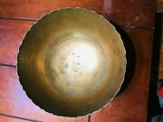 Antique Dynasty Ming Chinese Brass Engraved Bowl With A Dragon And Phoenix