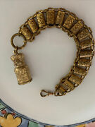 Vintage Gold Filled Thick Unusual Books Link Pocket Watch Chain And Gf Bottle Fob