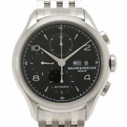 Baume And Mercier Clifton Chronograph 65731 Automatic Black Dial Stainless Menandrsquos