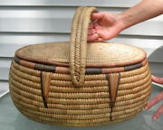 Northwest Pacific Coast Native American Indian Basket With Lid Culture And Ethnic