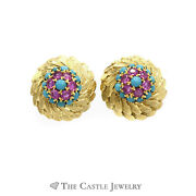 Round Feather Designed Earrings With Rubies And Turquoise In 18k Yellow Gold