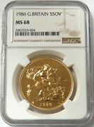 1986 Gold Great Britain 5 Pounds Coin Ngc Mint State 68