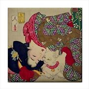 A Young Woman Playing With Her Cat Japanese Ukiyo-e Art Ceramic Tile