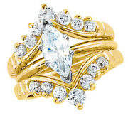 14k Real Gold .50ct Diamond Round Solitaire Ring Guard Wrap Enhancer