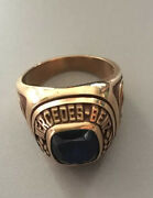 Mercedes Benz Ring 10k With Blue Stone + Emblem Engraving
