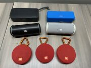 Lot Of 7 Bluetooth Speakers As Is, Bad Sound Quality, No Charge Jbl Flip Clip 2