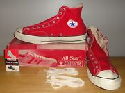 Vintage Converse All Star Black Label Chuck Taylor Red Hi Top Shoes 17 New And Box