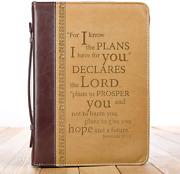 11 Tan Faux Leather Bible Book Cover Case Protector, Jeremiah 2911 Extra Large