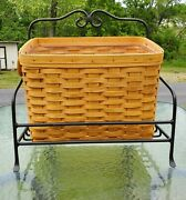 Longaberger Newspaper/magazine Basket 1999 W/protector And Wrought Iron Stand