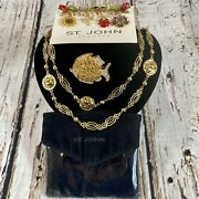 3pc Vintage St. John Necklace And Rhinestone Brooch Jewelry Lot High End Designer