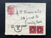 British Guina Cover 1911 Georgetown Beverly Ma Usa Postage Dues T H/s