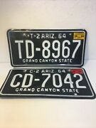 Lot Of 2 T-2 And C-2 Vintage Arizona 1964 License Plates Expired
