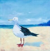 Seagull Painting Original Art Seascape Canvas Artwork Impasto 14 By 14 In